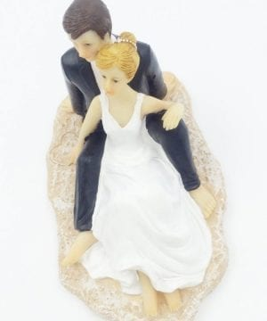 Groom and Bridge on Beach Wedding Cake Topper