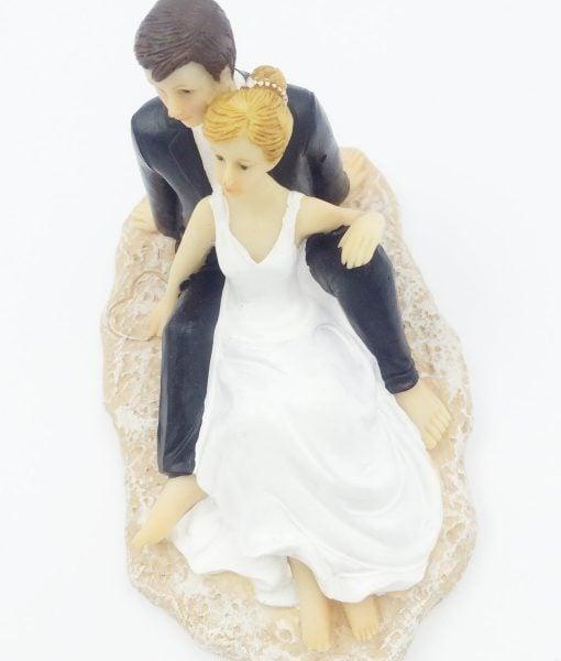 Groom and Bridge on Beach Wedding Cake Topper