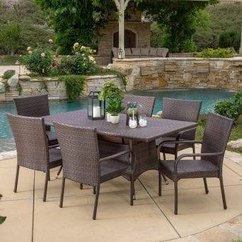 Kory Outdoor Brown Wicker Dining Set