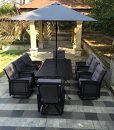 Palmetto Black Aluminum Wicker Dining Set