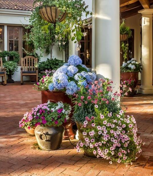 Colorful-Pots-by-Casa-Smith-Designs-LLC 51 Teak Outdoor Furniture Ideas