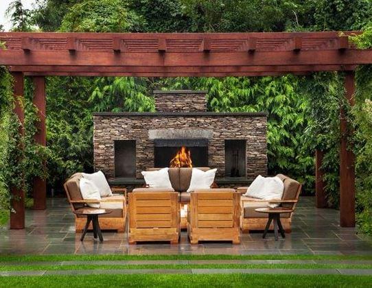 Fireplace-by-Gunn-Landscape-Architecture 51 Teak Outdoor Furniture Ideas