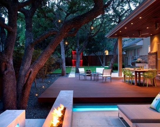 Live-Eat-Relax-and-Play-in-the-Backyard-by-Austin-Outdoor-Design 51 Teak Outdoor Furniture Ideas