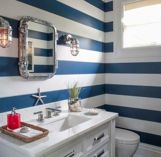 Nautical-Chic-Bath-Hampton-Designer-Showcase-by-Melanie-Roy-Design 101 Indoor Nautical Style Lighting Ideas