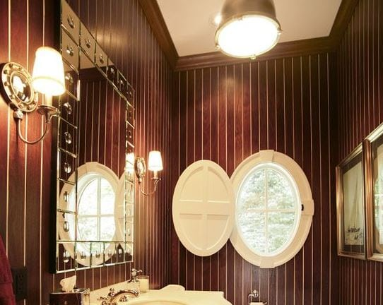 Teak-Powder-Room-by-Martin-Bros-Contracting-Inc 101 Indoor Nautical Style Lighting Ideas