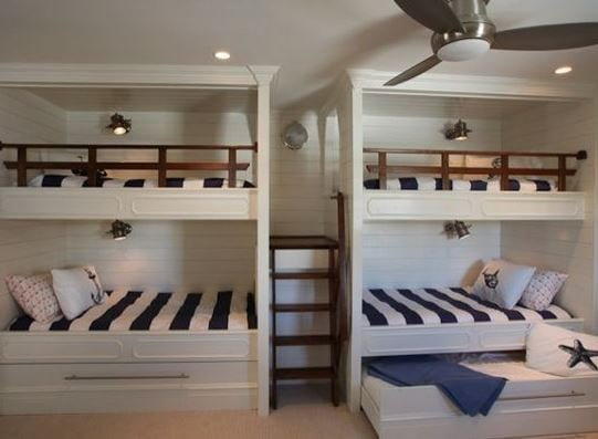 Traditional-Kids-Bunk-Bed-Room 101 Indoor Nautical Style Lighting Ideas