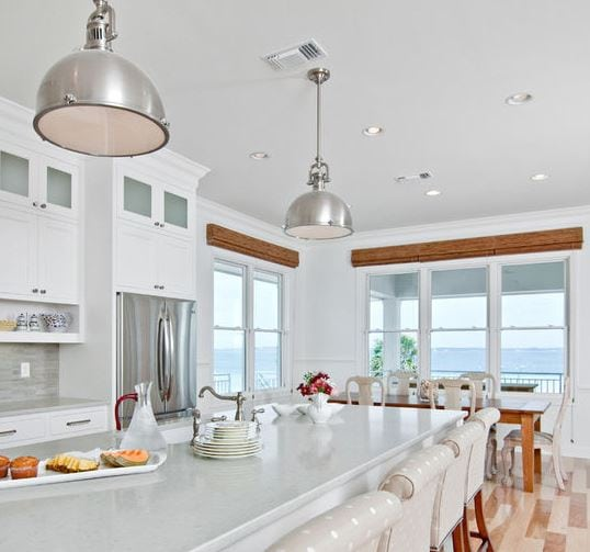 White-Beach-Kitchen-by-In-Detail-Interiors 101 Indoor Nautical Style Lighting Ideas