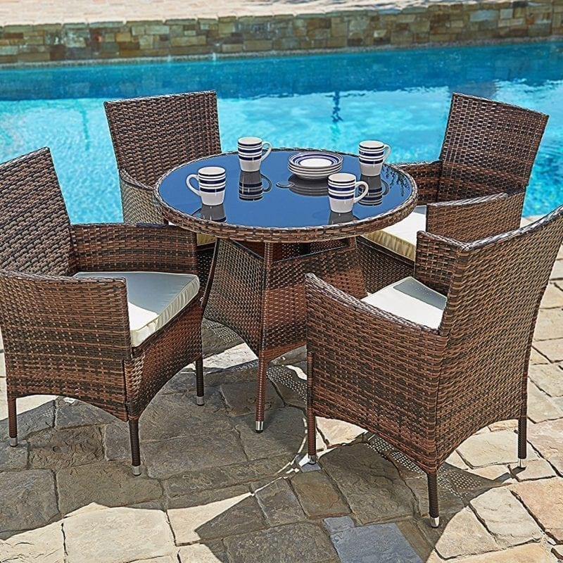 traditions lowes furniture outdoors hanover at bronze natural outdoor com piece frame oat pl metal dining patio with set shop sets