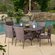 three-posts-wicker-dining-set Wicker Patio Dining Sets