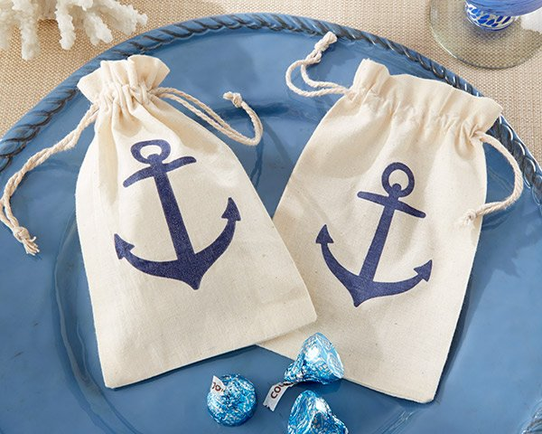 Anchor-Muslin-Favor-Bag-wedding-favor Best Nautical Wedding Favors You Can Buy