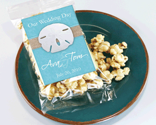 Personalized Beach Themed Caramel Popcorn Wedding Favors The Best