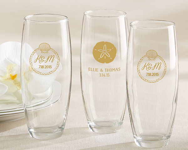 Personalized-Beach-Tides-9-oz.-Stemless-Champagne-Glass The Best Beach Wedding Favors You Can Buy