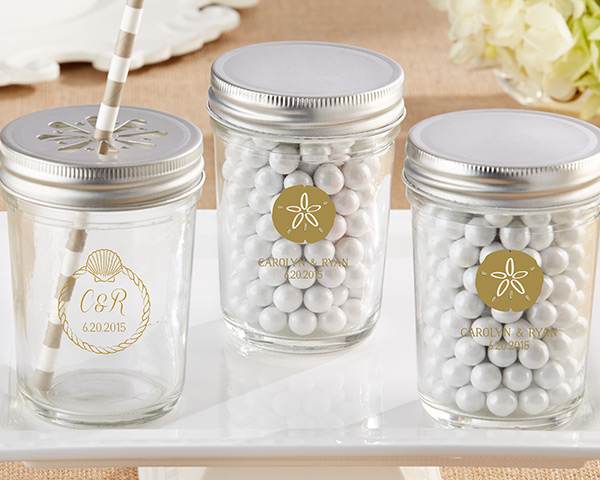 Personalized-Beach-Tides-Printed-Glass-Mason-Jar The Best Beach Wedding Favors You Can Buy