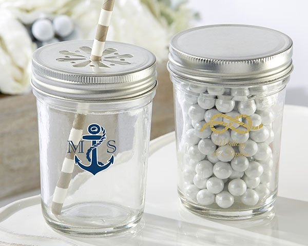 Personalized-Nautical-Wedding-Printed-Glass-Mason-Jar The Best Beach Wedding Favors You Can Buy
