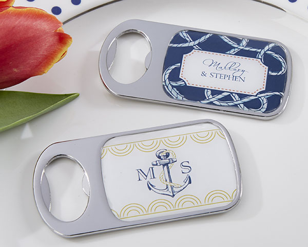 Personalized-Nautical-Wedding-Themed-Bottle-Opener-with-Epoxy-Dome The Best Beach Wedding Favors You Can Buy