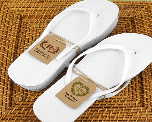 Wedding-Flip-Flops-w-Monogram-Kraft-Tag The Best Beach Wedding Favors You Can Buy