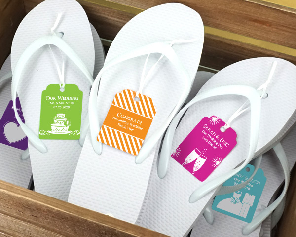 Wedding-Flip-Flops-w-Personalized-Tag The Best Beach Wedding Favors You Can Buy