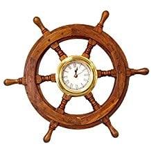 nautical-shipwheel-brown-wall-clock-8 The Best Beach Wall Clocks You Can Buy