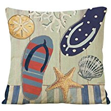 3-flip-flop-seashells-throw-pillow-cover Coastal Throw Pillows & Beach Throw Pillows