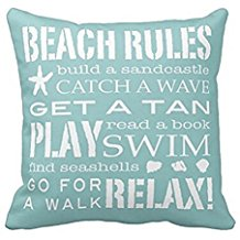 5-beach-rules-throw-pillow Coastal Throw Pillows & Beach Throw Pillows