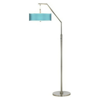 Aqua-Horizontal-Stripe-Giclee-Shade-Arc-Floor-Lamp Coastal And Beach Floor Lamps