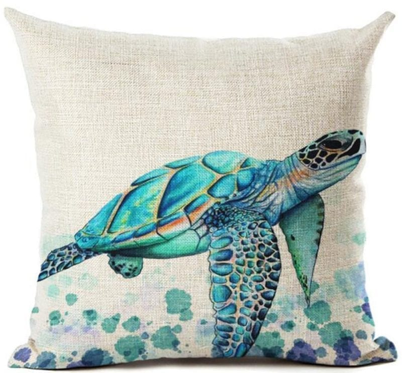 Beautiful-Watercolor-Beach-Sea-Turquoise-Color-Animals-Sea-Turtle-throw-pillow-800x743 Coastal Throw Pillows & Beach Throw Pillows