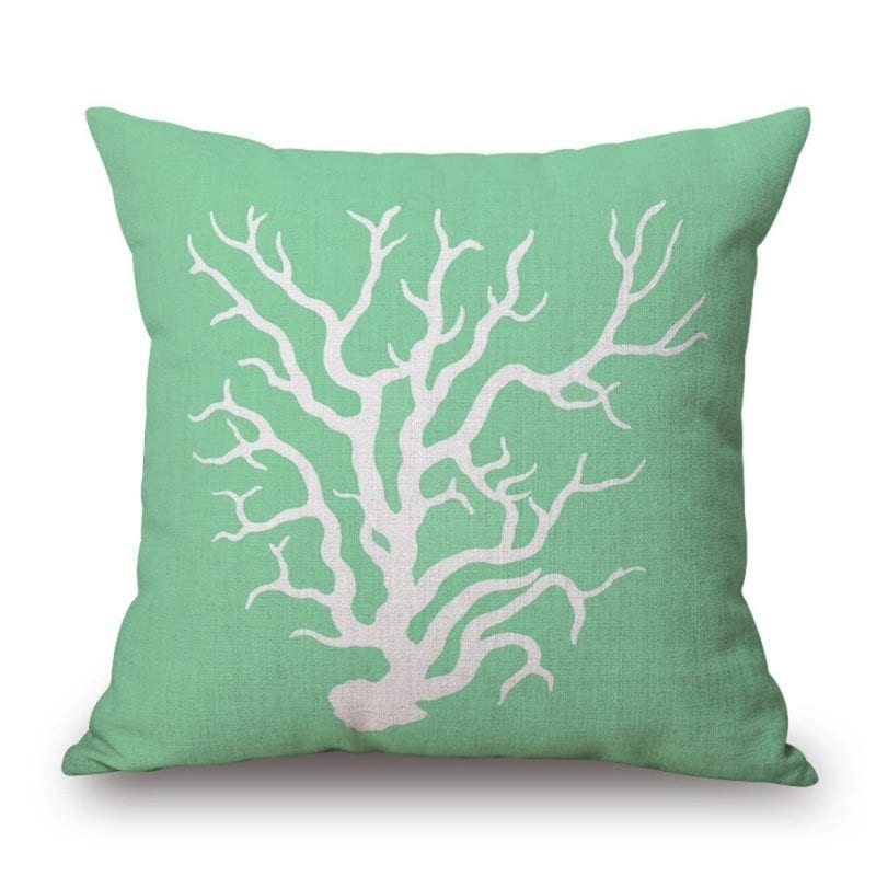 coral-in-green-throw-pillow-800x800 Coastal Throw Pillows & Beach Throw Pillows