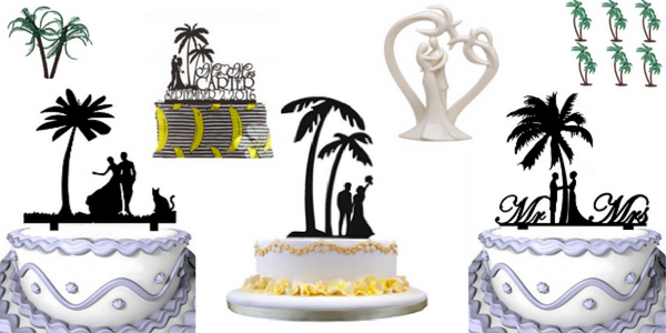 palm tree wedding cake toppers