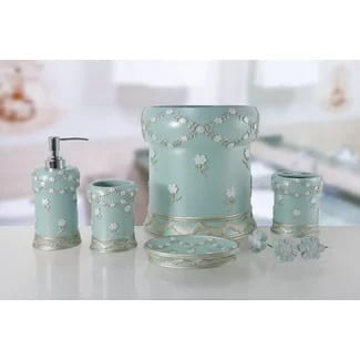 blue-5pc-bathroom-accessory-set Beach Bathroom Decor