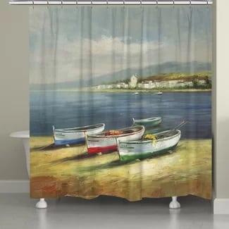 boats-on-the-beach-shower-curtain Beach Bathroom Decor
