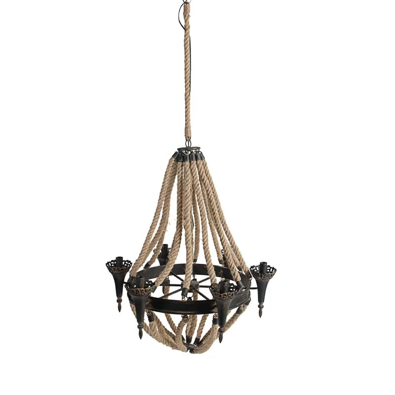 candle-style-nautical-rope-chandelier Nautical Chandeliers