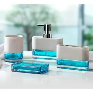 Float 4pc Blue Bathroom Accessory Set Beach Bathroom Decor