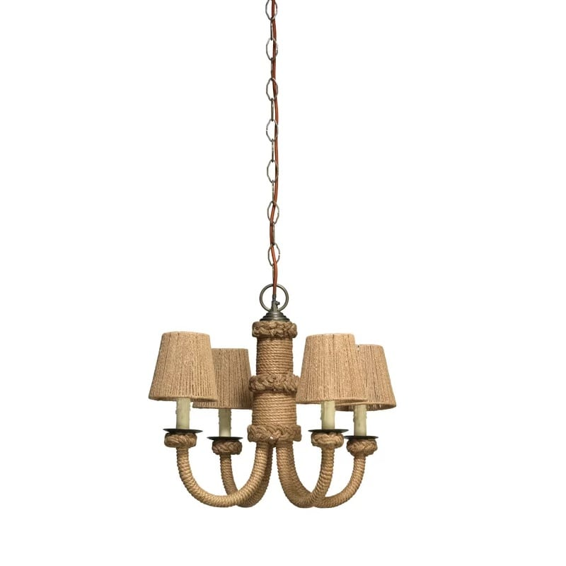 jute-4-light-candle-style-chandelier Nautical Chandeliers