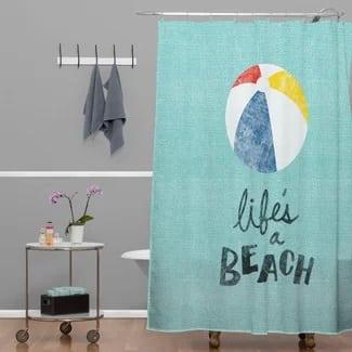 lifes-a-beach-shower-curtain Beach Bathroom Decor