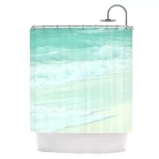 light-blue-shower-curtain Beach Bathroom Decor
