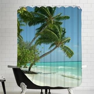 maldives-beach-shower-curtain Beach Bathroom Decor