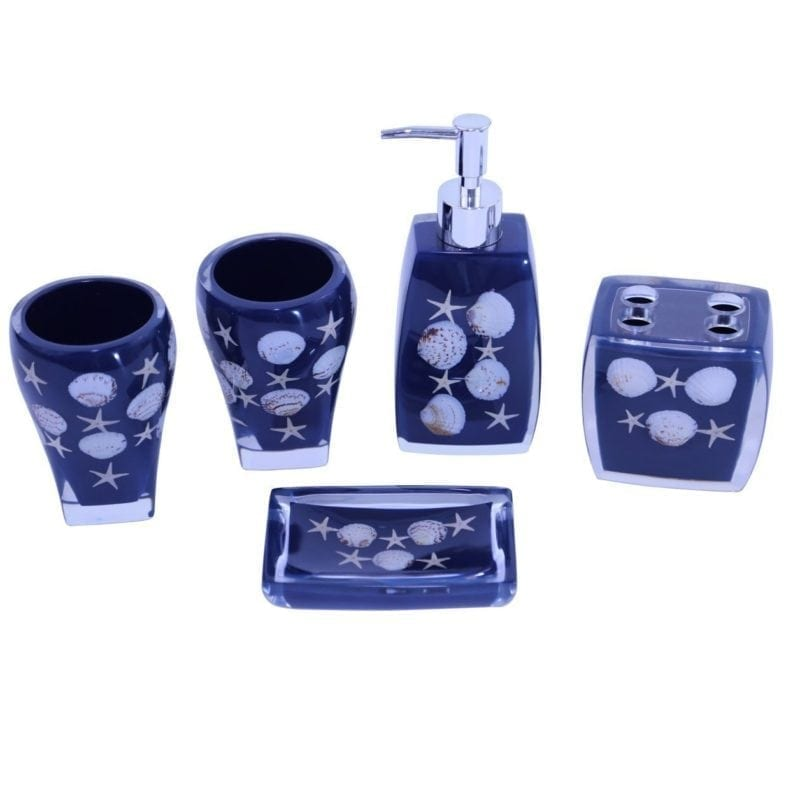 Beach bathroom decor beachfront decor for Navy bathroom accessory sets