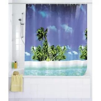 palm-beach-shower-curtain Beach Bathroom Decor