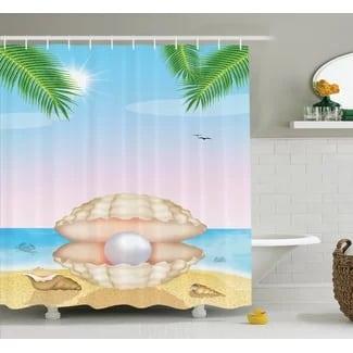 shell-on-beach-shower-curtain-set Beach Bathroom Decor