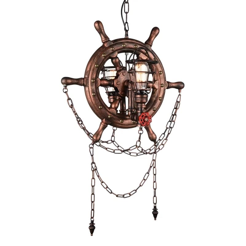 ship-wheel-nautical-chandelier Nautical Chandeliers