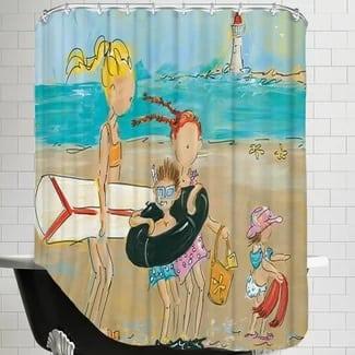 to-the-beach-shower-curtain Beach Bathroom Decor