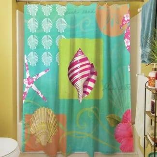 tropical-beach-shower-curtain Beach Bathroom Decor