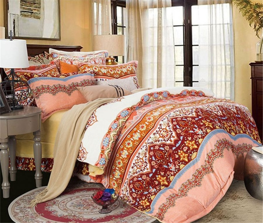 queen lush stripe boho products turquoise pc tangerine comforter full chic decor set piece quilt lushdecor com