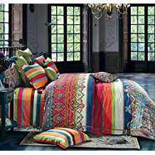 Bohemian-Duvet-Cover-Striped-Ethnic-Boho-Reversible Bohemian Bedding and Boho Bedding Sets