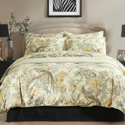 Chinoiserie-Chic-Peacock-Floral-Duvet-Cover-Set Bohemian Bedding and Boho Bedding Sets