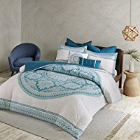 Coletta-Comforter-Set-Aqua-FullQueen Bohemian Bedding and Boho Bedding Sets