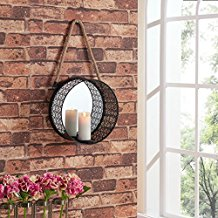 Danya-B.-Round-Mirror-Pillar-Candle-Sconce-with-Filigree-Metal-Frame-and-Hanging-Rope The Best Rope Mirrors You Can Buy