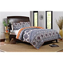 Greenland-Home-3-Piece-Medina-Quilt-Set-FullQueen-Saffron Bohemian Bedding and Boho Bedding Sets