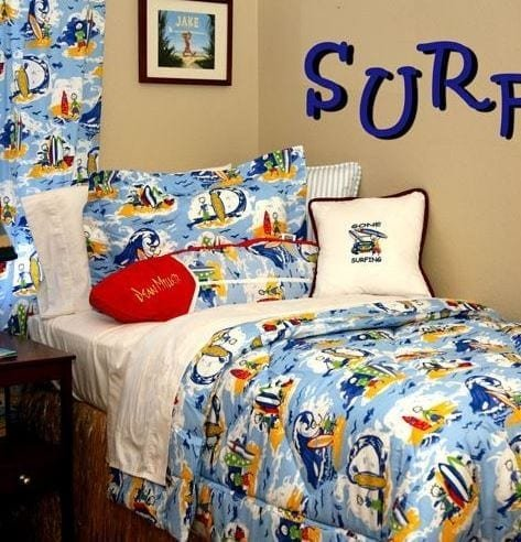 Kids-Surfing-Themed-Room-by-Dean-Miller-Surf-Bedding Best Surf Bedding and Comforter Sets