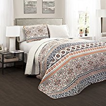 Lush-Decor-3-Piece-Nesco-Quilt-Set-FullQueen-NavyCoral Bohemian Bedding and Boho Bedding Sets